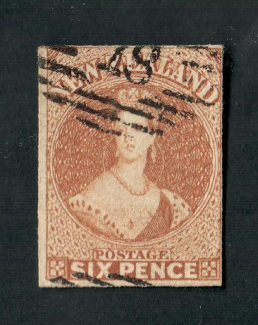 NEW ZEALAND 1855 Full Face Queen 6d Bistre-Brown. No Watermark. Imperf. Four margins. Good used. CP A5a(8). - 74096 - Used image 0