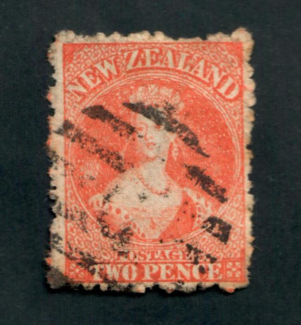NEW ZEALAND 1862 Full Face Queen 2d Orange. Unpleasant postmark. - 39025 - Used image 0