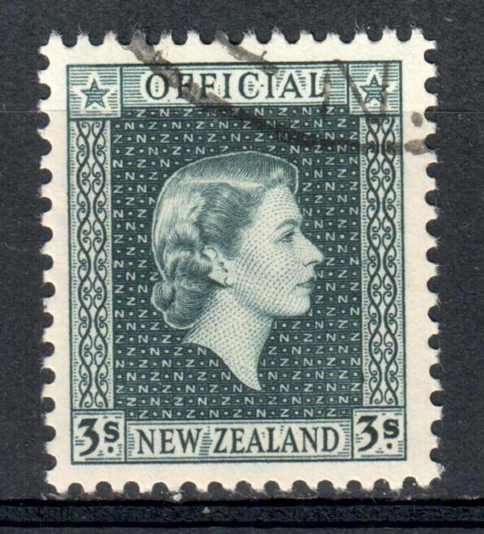 NEW ZEALAND 1954 Elizabeth 2nd Official 3/- Grey. - 10307 - FU image 0
