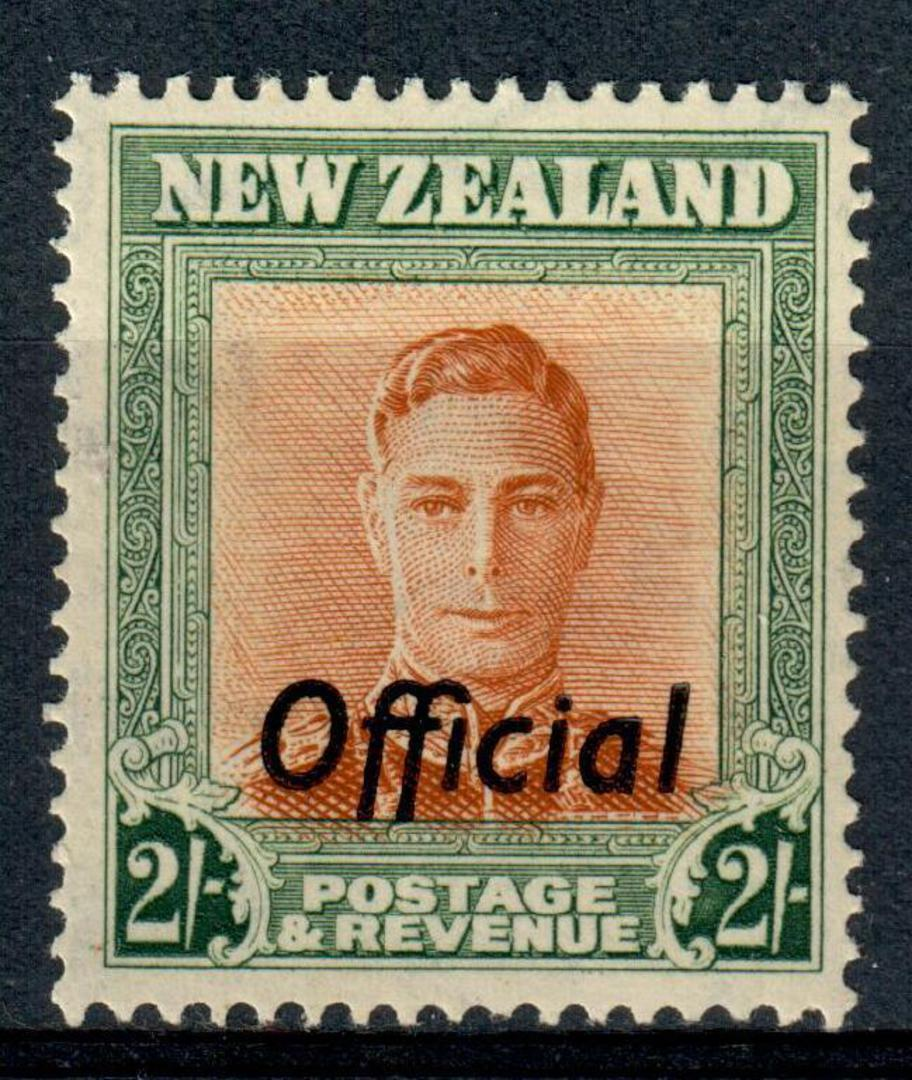 NEW ZEALAND 1938 Geo 6th Official 2/- Green and Brown. - 225 - UHM image 0