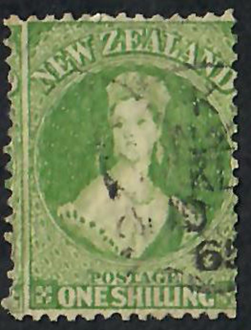 NEW ZEALAND 1862 Full Face Queen 1/- Green. Perf 12½. ACS $300.00. - 60073 - VFU image 0