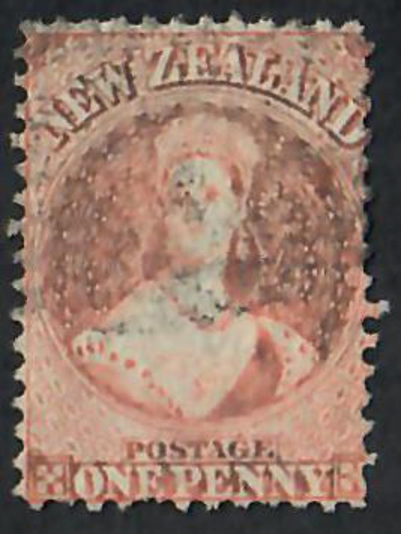 NEW ZEALAND 1862 Full Face Queen 1d Brown  Perf 12½. Good example of extended plate wear.  CP A1q (3). $150 - 60091 - GU image 0