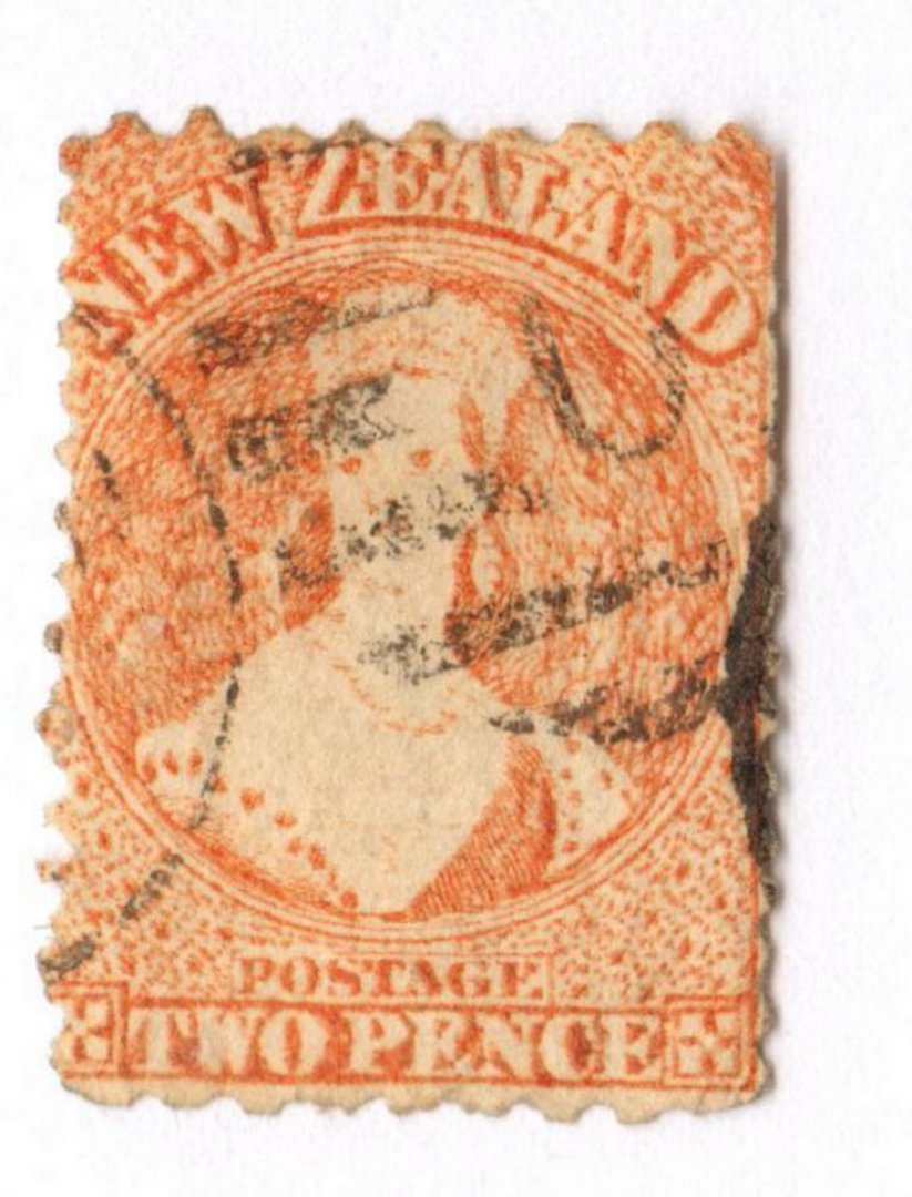 NEW ZEALAND 1862 Full Face Queen 2d Orange. Perf 10x12½. Early plate wear. Postmark over face. - 3565 - Used image 0