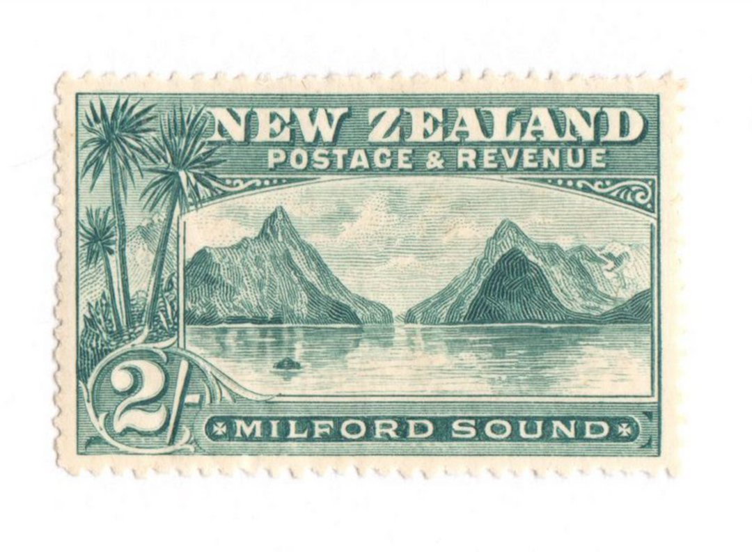 NEW ZEALAND 1898 Pictorial 2/- Blue-Green. London Print. Very lightly hinged. - 75012 - LHM image 0