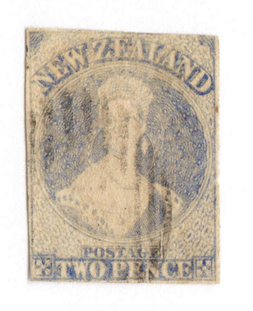 NEW ZEALAND 1862 Full Face Queen 2d Ultramarine. Pelure paper. Imperf. Three excellent margins and much of the fourth. Light bar image 0