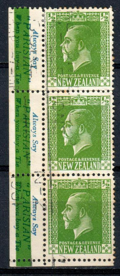 NEW ZEALAND 1915 Geo 5th Definitive ½d Green. Part of Booklet Pane with Parisian Adverts. Strip of 3 at left corner. Catalogued image 0