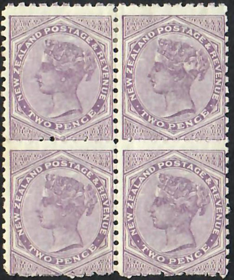 NEW ZEALAND 1882 Victoria 1st Second Sideface 2d Mauve. Perf 10 x 11. Block of 4. Top pair hinged. - 20673 - Mixed image 0