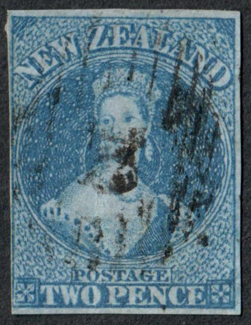 NEW ZEALAND 1855 Full Face Queen 2d Blue on blued paper.  Imperf. Cut square three margins the 4th touching. - 60018 - GU image 0