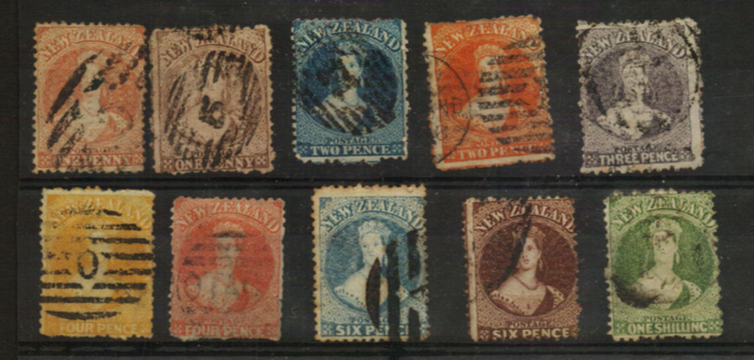 NEW ZEALAND 1862 Full Face Queens Perforated. Set of 10. Excludes the 1d Red. All have heavy cancels. Minor faults (perf imperfe image 0