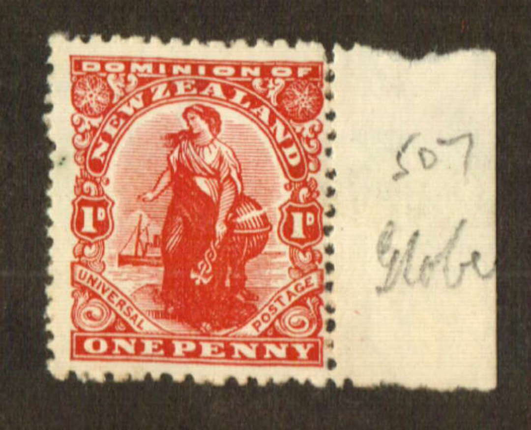 NEW ZEALAND 1925 1d Dominion on De La Rue Medium Chalky Paper with Sideways Watermark and Brown Gum. Globe Flaw. - 74672 - Mint image 0