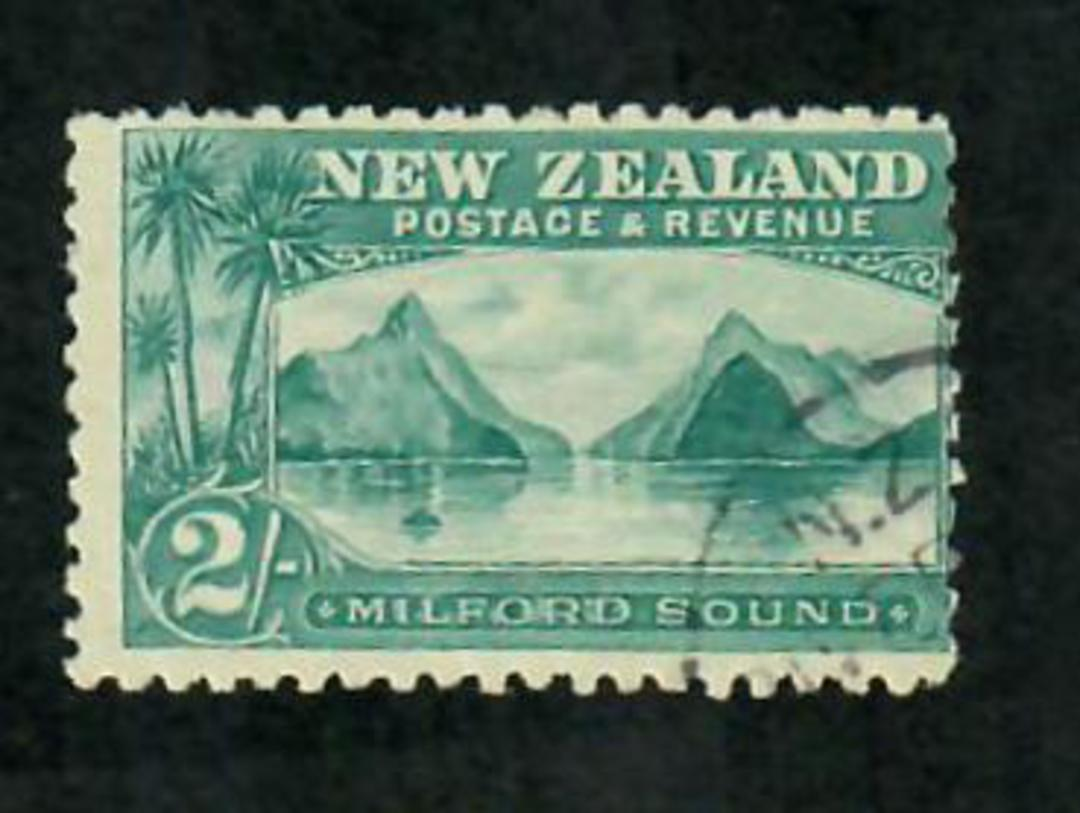 NEW ZEALAND 1898 Pictorial 2/- Green. Superb copy with corner A class cancel. - 74146 - VFU image 0