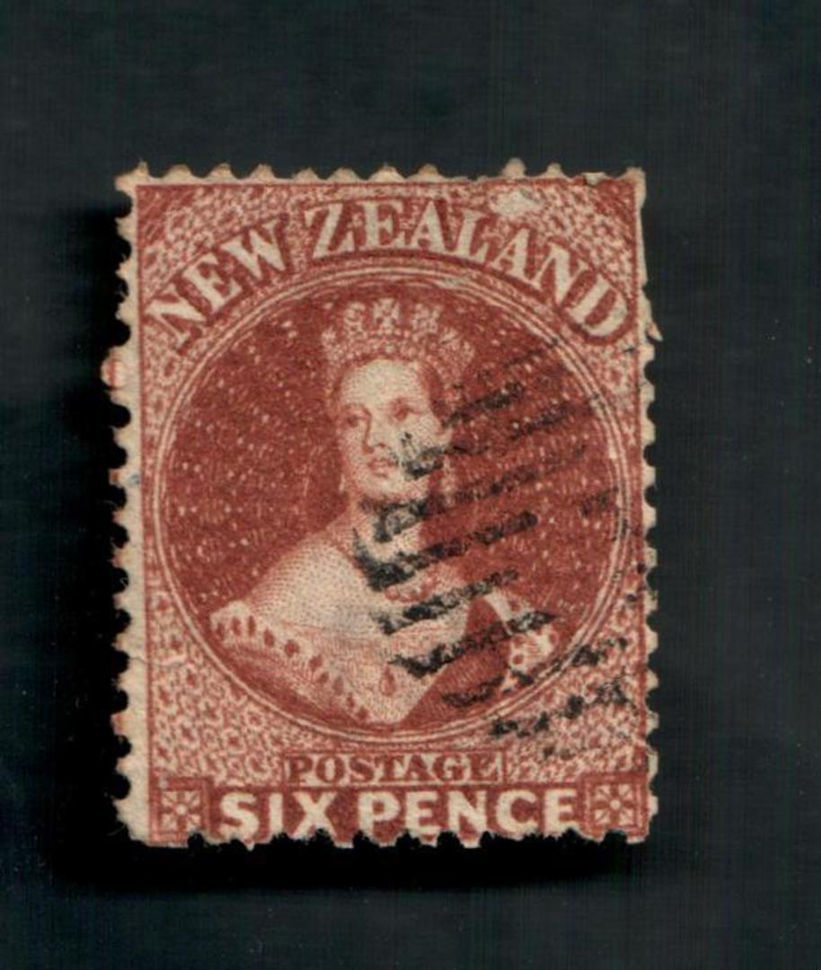 NEW ZEALAND 1862 Full Face Queen 6d Brown. Perf 12½. Watermark NZ. A few poor perfs. Attracive postmark even tho it touches the image 0