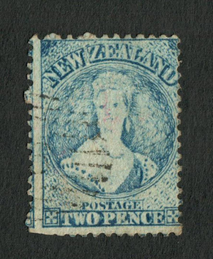 NEW ZEALAND 1862 Full Face Queen 2d Bright Blue. Perf 12½. Extensive plate wear. Very light postmark off face. - 3555 - FU image 0
