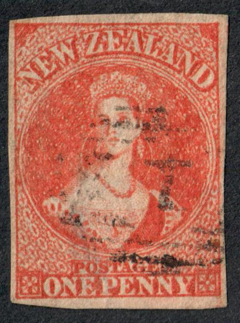 NEW ZEALAND 1855 Full Face Queen 1d Red Imperf. Four clear margins. Light postmark but impinges on the face. CP A1e(4). - 60094 image 0