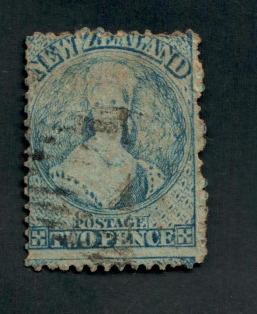 NEW ZEALAND 1862 Full Face Queen 2d Deep Blue. Perf 12½. Extensive plate wear. Light postmark over face. - 3556 - Used image 0