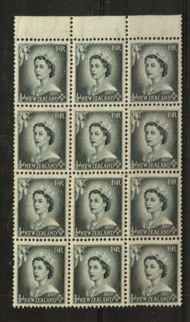 NEW ZEALAND 1953 Elizabeth 2nd Definitive ½d Grey in block of 12. - 21855 - UHM image 0