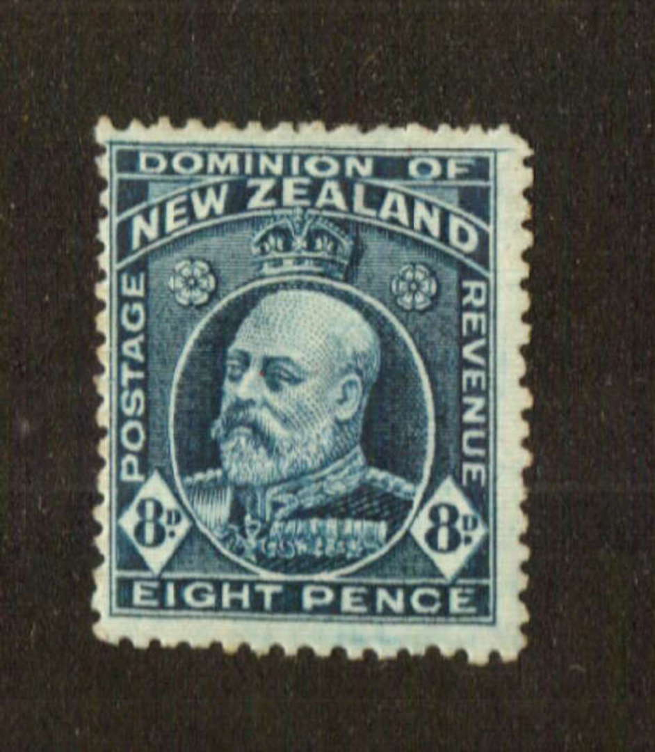 NEW ZEALAND 1916 Edward 7th Definitive 8d Indigo-Blue. Provisional issue on pictorial paper. Perf 14 line.  Watermark 7a. - 7478 image 0