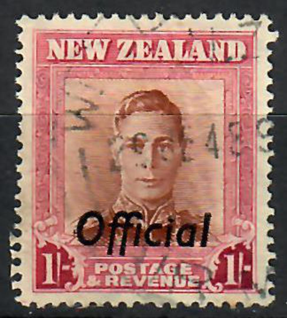 NEW ZEALAND 1938 Geo 6th Official 1/- Die 2 - 70500 - Used image 0