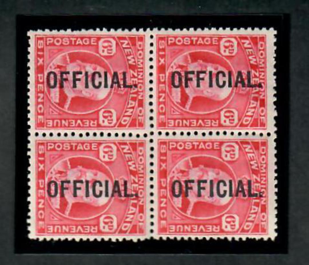 NEW ZEALAND 1909 Edward 7th Official 6d Red in block of four. Two VLHM and two UHM. - 20123 - Mixed image 0