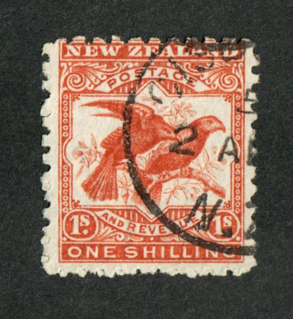 NEW ZEALAND 1898 Pictorial 1/- Kaka. - 10048 - FU image 0