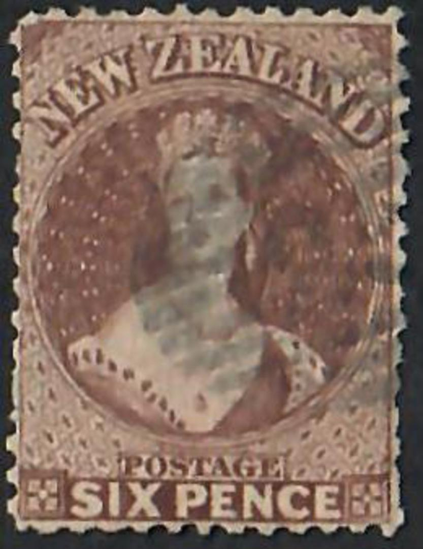 NEW ZEALAND 1862 Full Face Queen 6d Brown. Perf 13. Light postmark. Brown shade. - 60054 - FU image 0