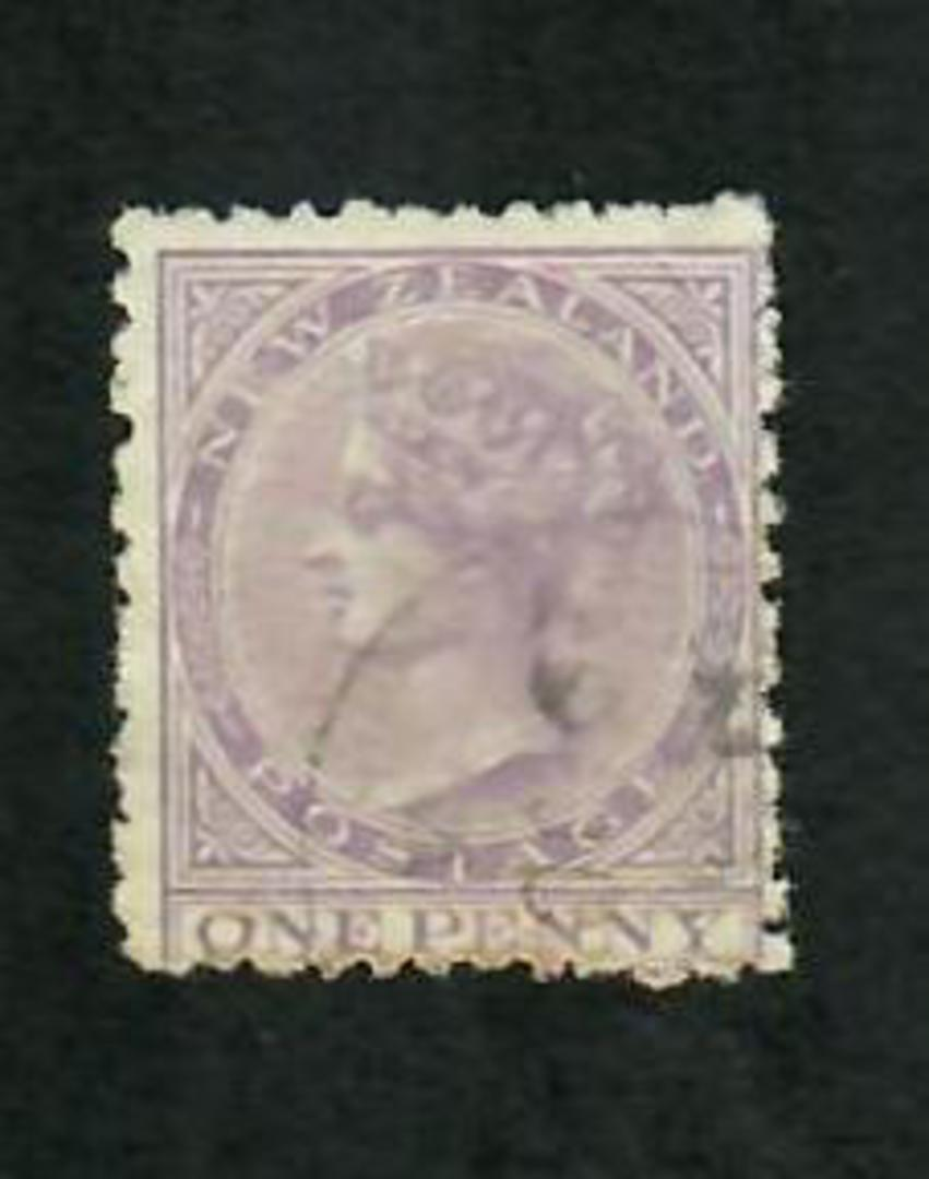 NEW ZEALAND 1874 Victoria 1st First Sideface 1d Lilac. - 10019 - VFU image 0