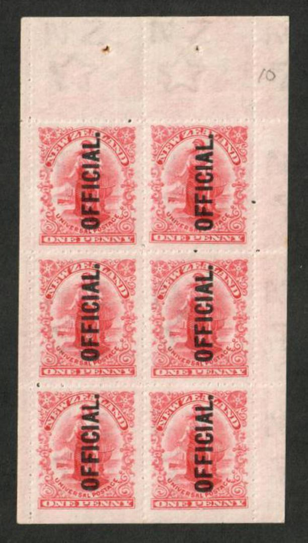 NEW ZEALAND 1909 1d Universal Official. Booklet Pane. Imperf at the bottom. Mint never hinged. Pencil identification 10. image 0