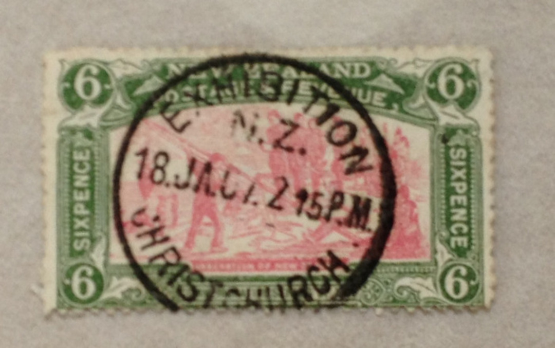 NEW ZEALAND 1906 Christchurch Exhibition 6d Red and Green with fine Exhibition Postmark. - 71915 - FU image 0
