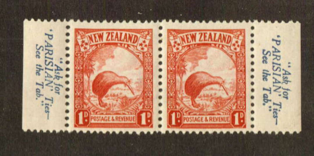 NEW ZEALAND 1935 Pictorial 1d Red. Pair with selvedge from the first booklet. Parisian Ties. - 74688 - UHM image 0