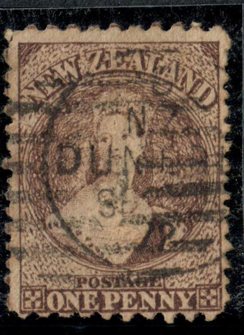 NEW ZEALAND 1862 Full Face Queen 1d Brown Early usage. Dunedin Sept 1872. - 74973 - Used image 0