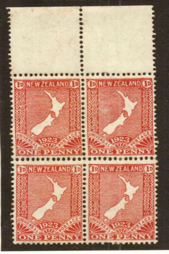 NEW ZEALAND 1923 Map 1d Red. Block of 4. De la Rue Printing. - 74748 - UHM image 0