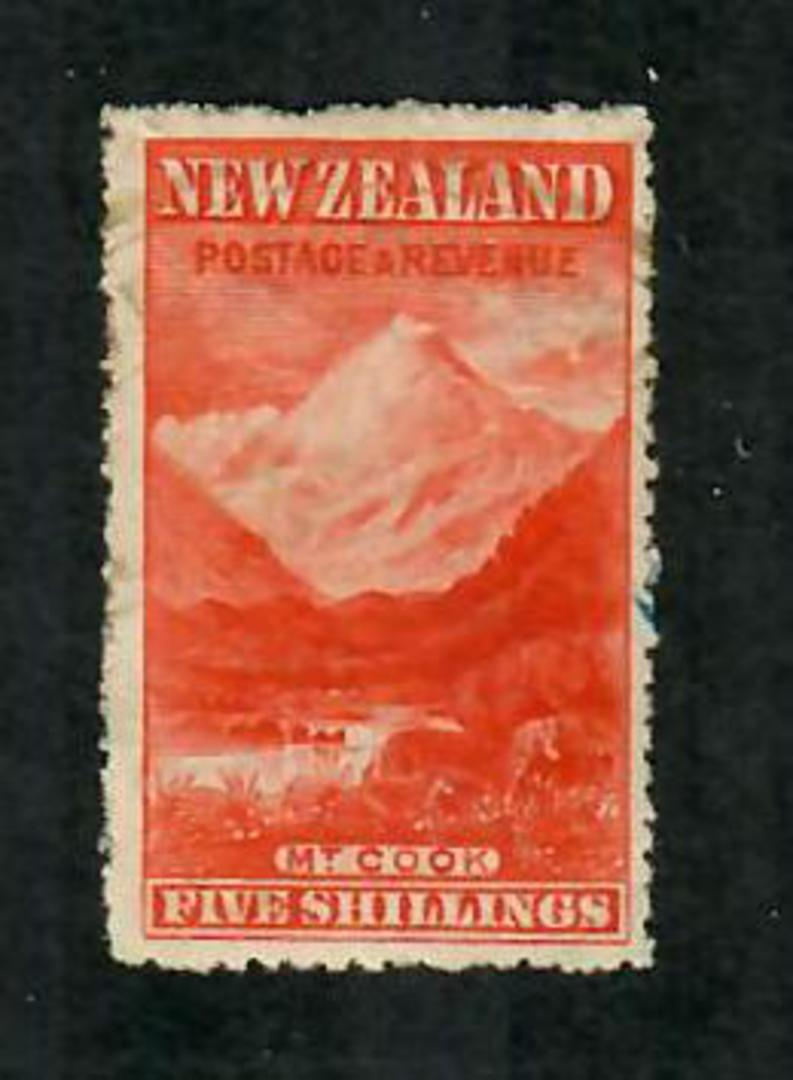 NEW ZEALAND 1898 Pictorial 5/- Deep Carmine-Red. Third Local Issue. Perf 14 Watermark Sideways. - 74821 - MNG image 0