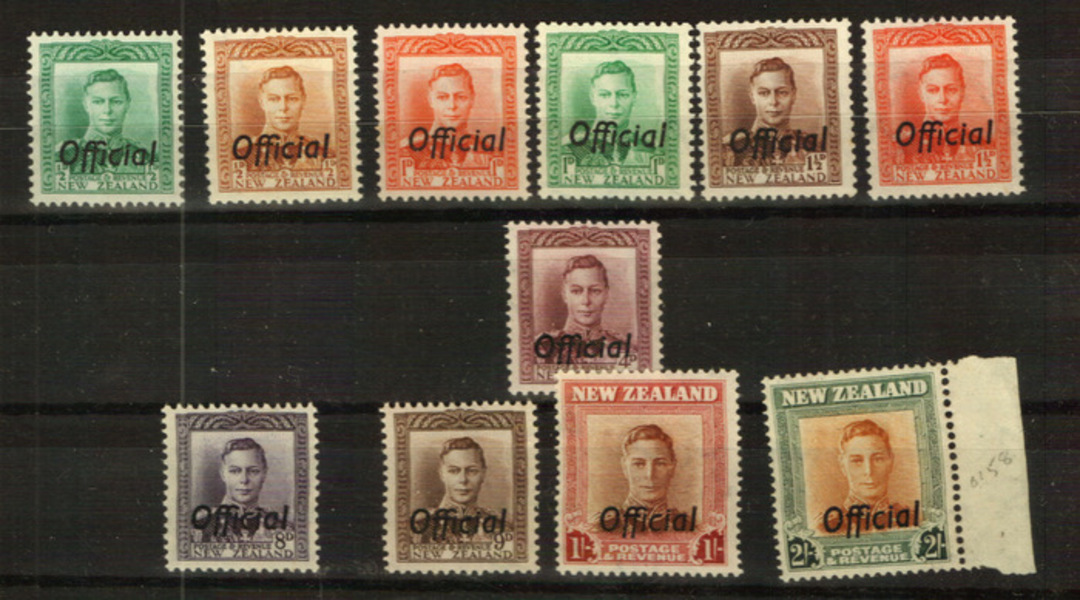 NEW ZEALAND 1938 Geo 6th Officials. Set of 14. - 24013 - UHM image 0