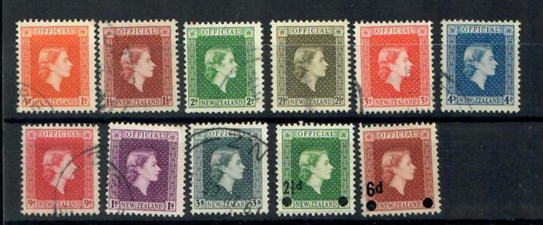 NEW ZEALAND 1954 Elizabeth 2nd Officials. Set of 11 including the 1959 and 1961 overprints and the 1963 pair - 20106 - FU image 0