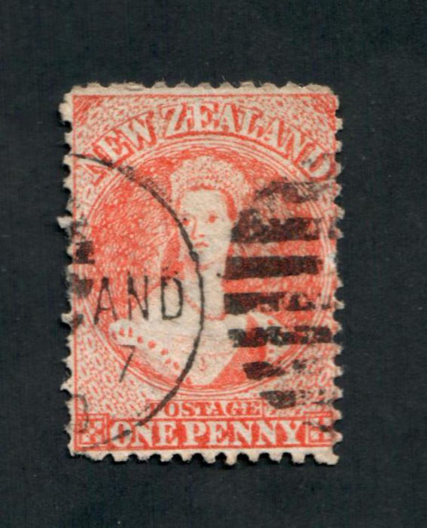 NEW ZEALAND 1862 Victoria 1st Full Face Queen 1d Orange. Postmark imposing. - 39003 - Used image 0