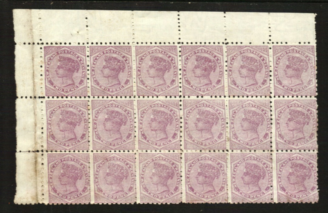 NEW ZEALAND 1882 Victoria 1st Second Sideface 2d Lilac. Perf 10. Block of 18. Top left corner with selvedge. Untidy on the rever image 0