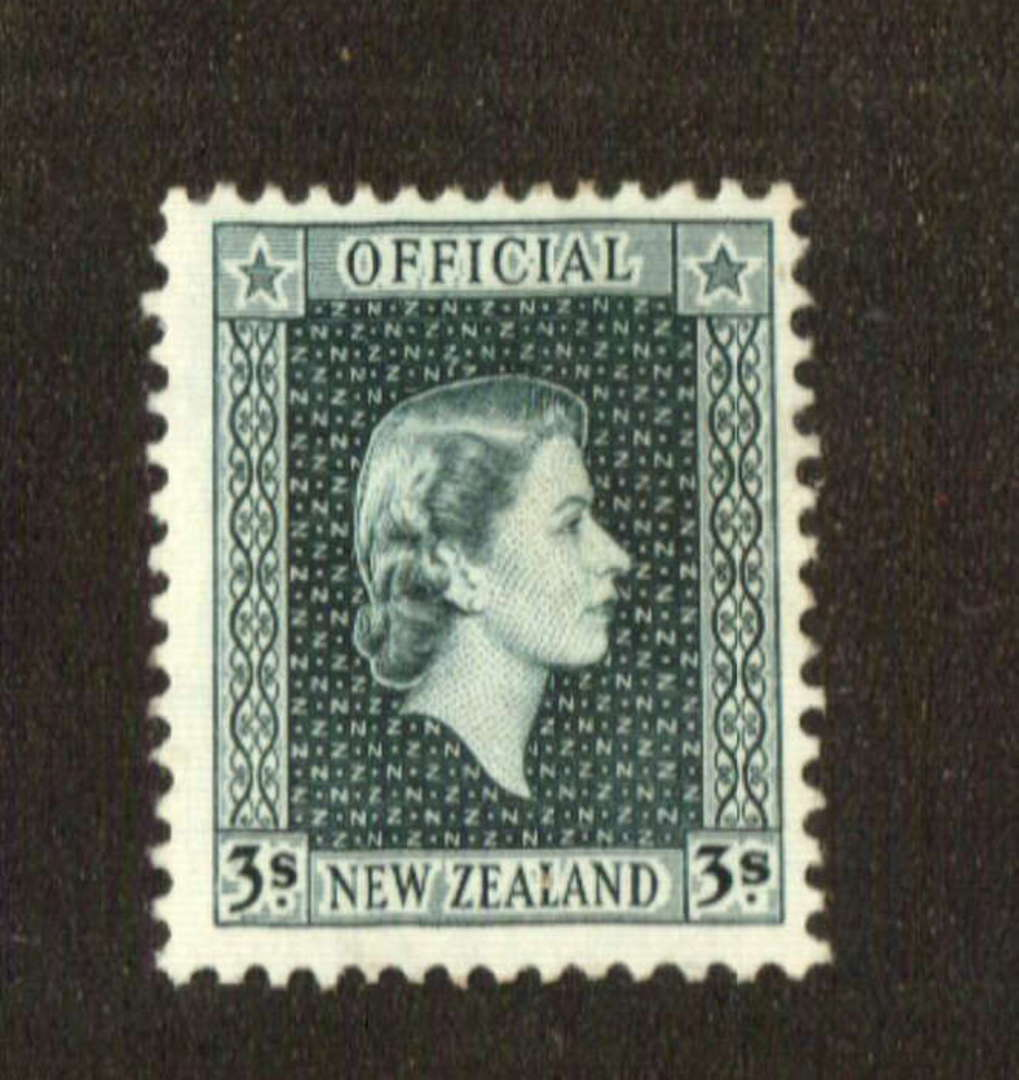 NEW ZEALAND 1953 Elizabeth 2nd Official 3/- Grey. Centred north east - 71301 - Mint image 0