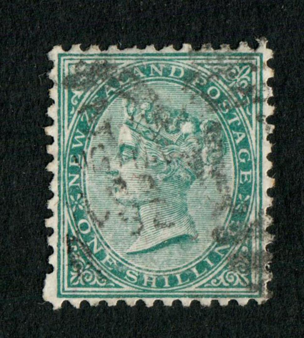 NEW ZEALAND 1874 Victoria 1st First Sideface 1/- Green. Perf 12 x 11½. - 74843 - Used image 0