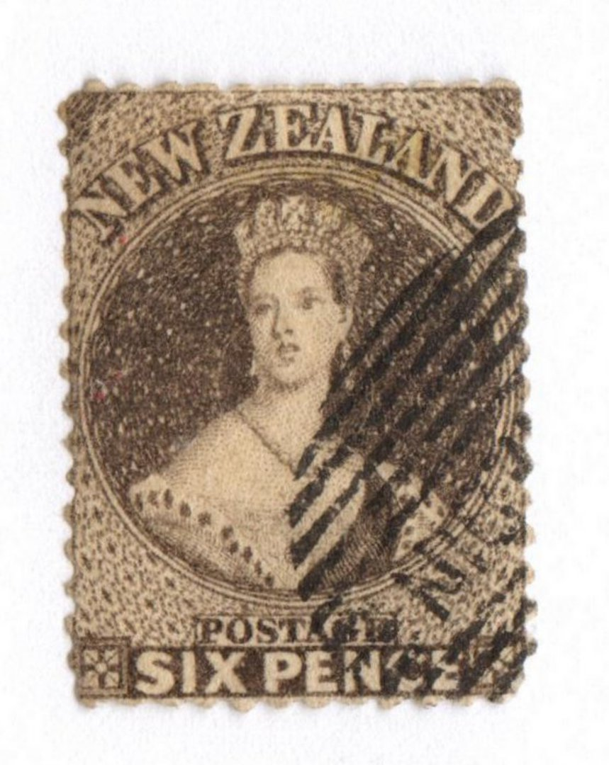 NEW ZEALAND 1862 Full Face Queen 6d Black-Brown. Perf 13 at Dunedin . Part Dunedin and bars cancel off face. - 79101 - FU image 0
