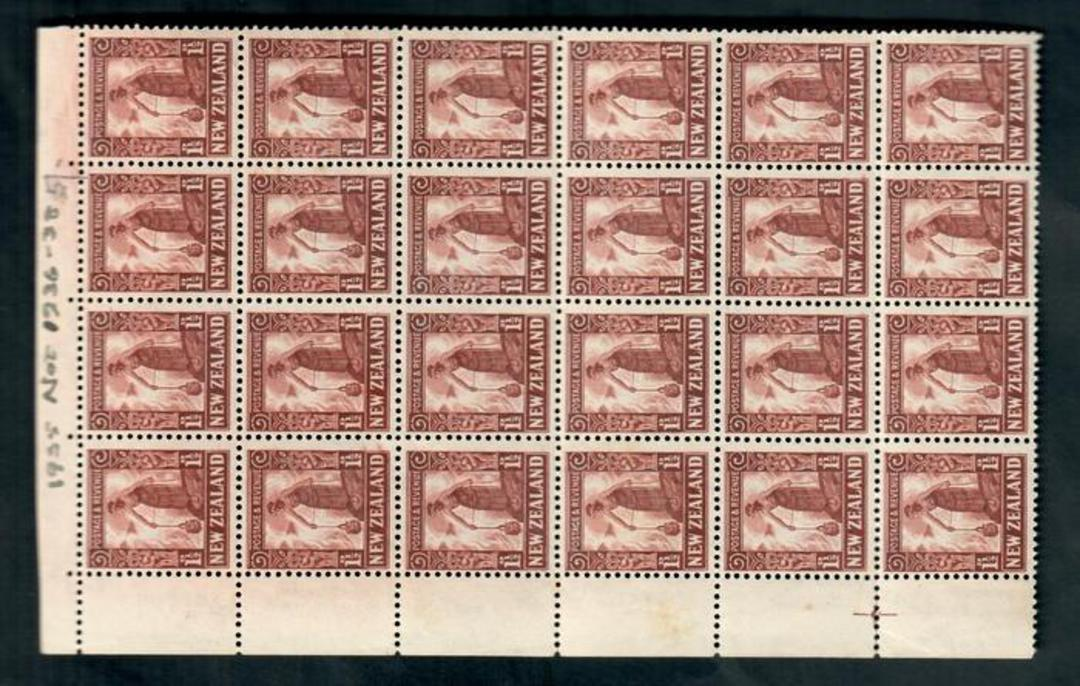 NEW ZEALAND 1935 Pictorial 1½d Brown. Corner block of 24. A few age marks on the back but still very tidy. - 50003 - UHM image 0