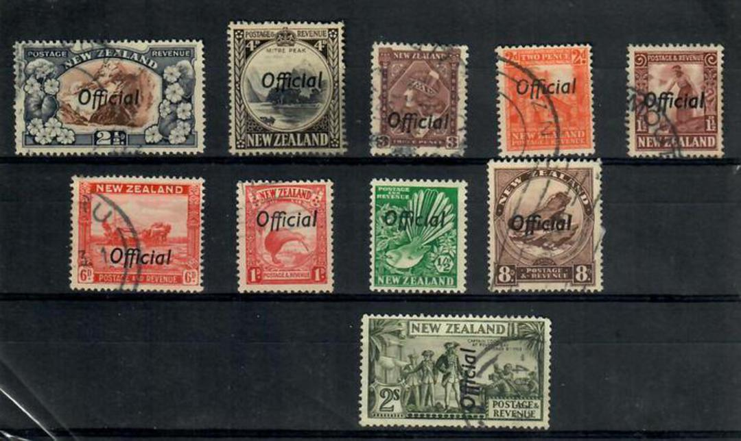 NEW ZEALAND 1935 Selection of Pictorial Officials. The ½d is LHM the rest fu or used. One or two nibbled perfs on the 2½d and a image 0