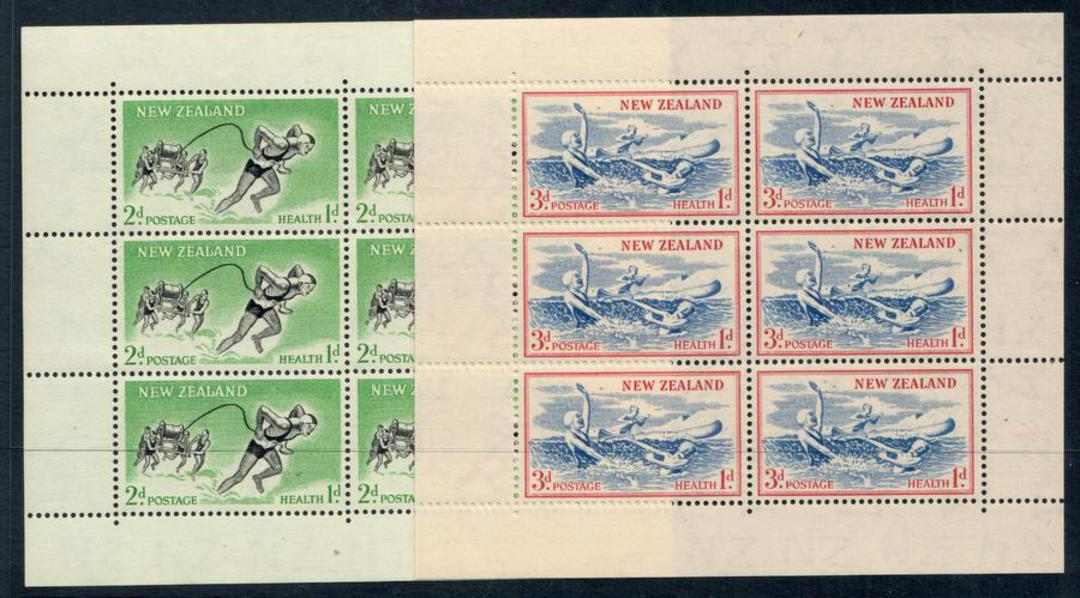 NEW ZEALAND 1957 Health Miniature sheets. Set of 2. Swimming and Lifesaving. Upright watermark. - 12657 - UHM image 0
