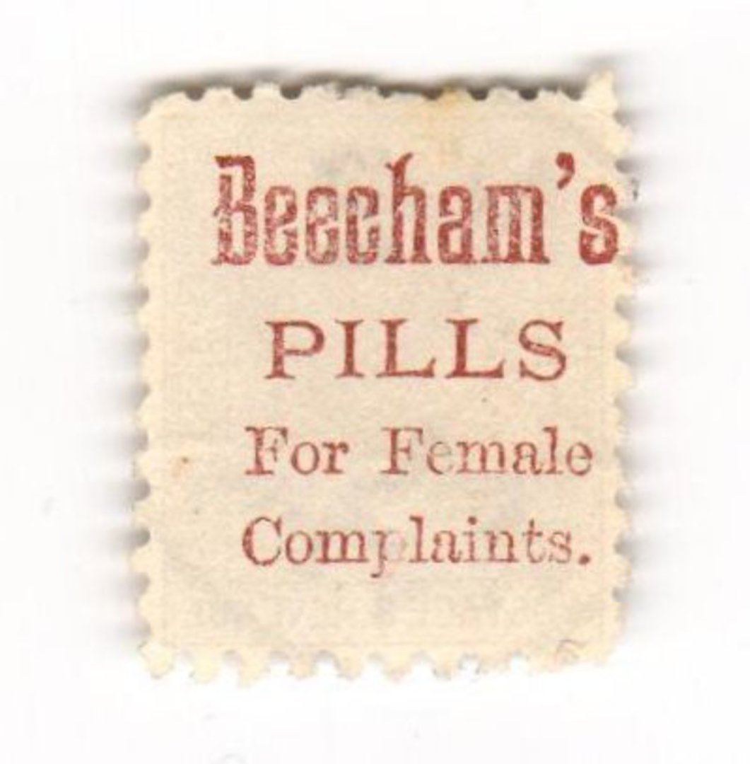NEW ZEALAND 1882 Victoria 1st Second Sideface 6d Brown. Beechams Pills for female complaints. Perf 10. Mauve to Brown-Purple. - image 0