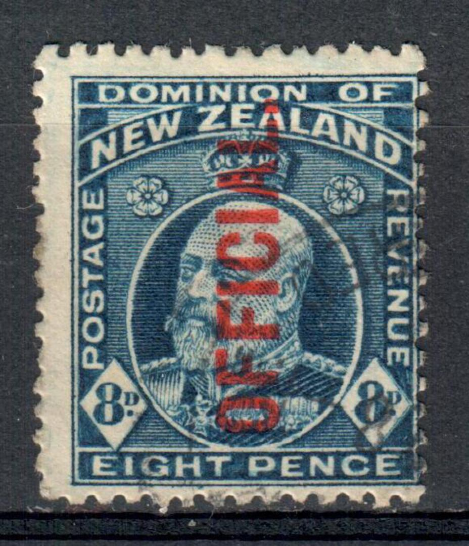 NEW ZEALAND 1909 Edward 7th Official 8d Blue. - 10090 - FU image 0