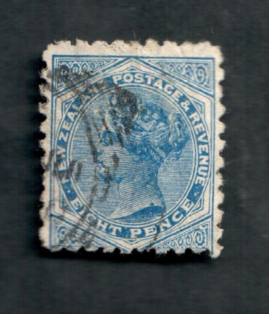NEW ZEALAND 1882 Victoria 1st Second Sideface 8d Blue. Perf 10. 3rd setting in Brown-Purple. Sunlight Soap. - 4007 - FU image 0