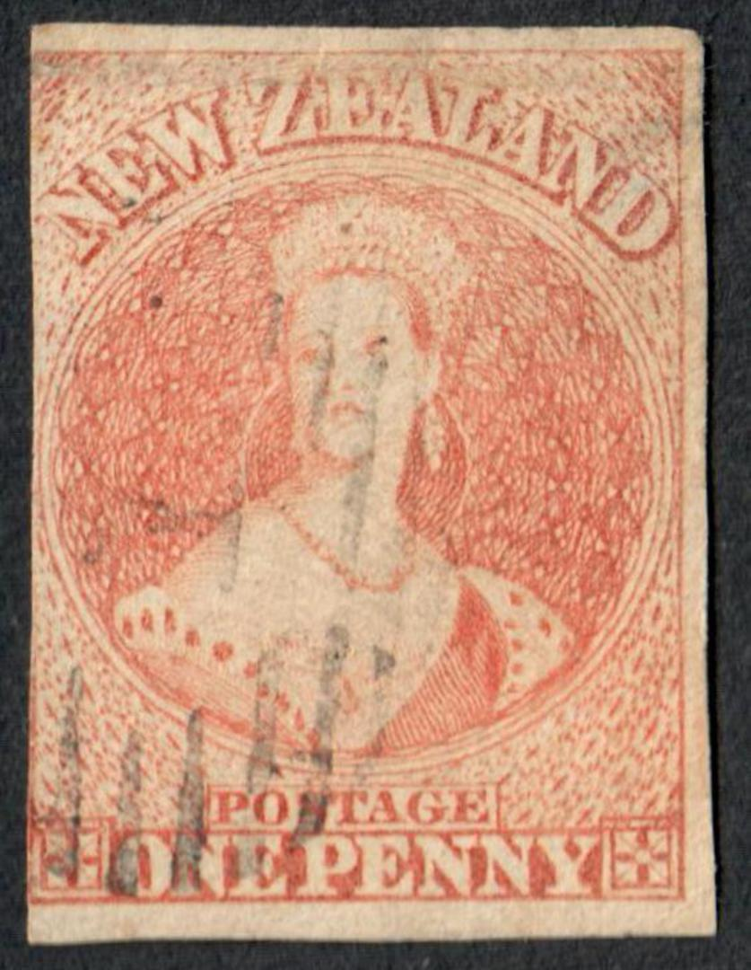 NEW ZEALAND 1855 Full Face Queen 1d Orange. Imperf.  No Watermark. Fine cancel. 3 margins. Identified by vendor as SG 48 £800. C image 0