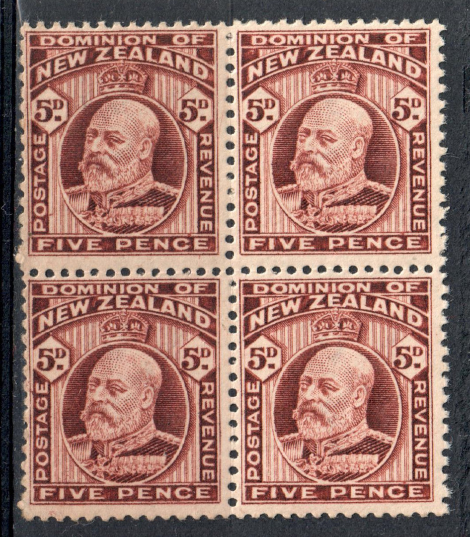 NEW ZEALAND 1909 Edward 7th 5d Deep Brown  Perf 14x13½. Block of 4. - 79568 - UHM image 0