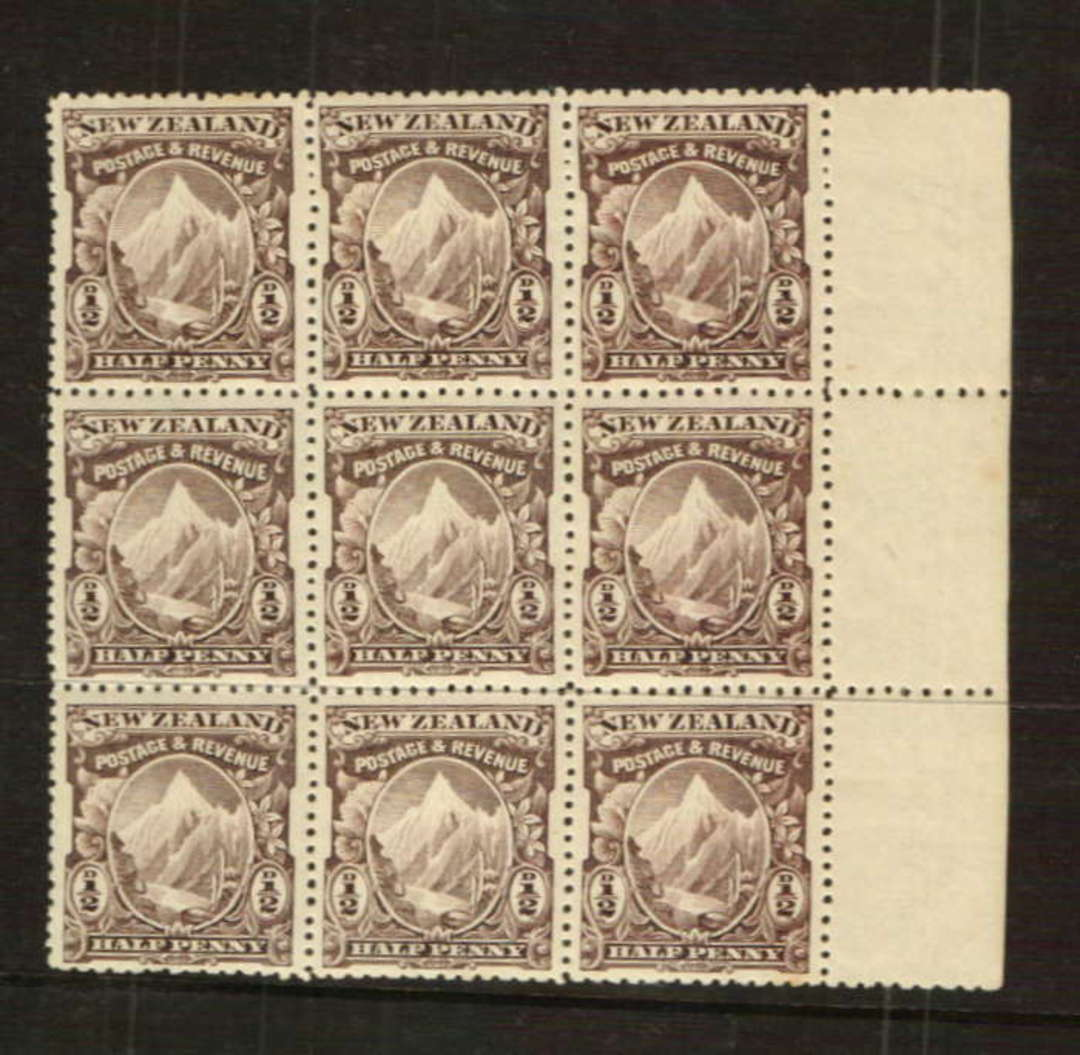NEW ZEALAND 1898 Pictorial ½d Purple-Brown. Block of 9. CP E1a. London Print. - 37902 - UHM image 0