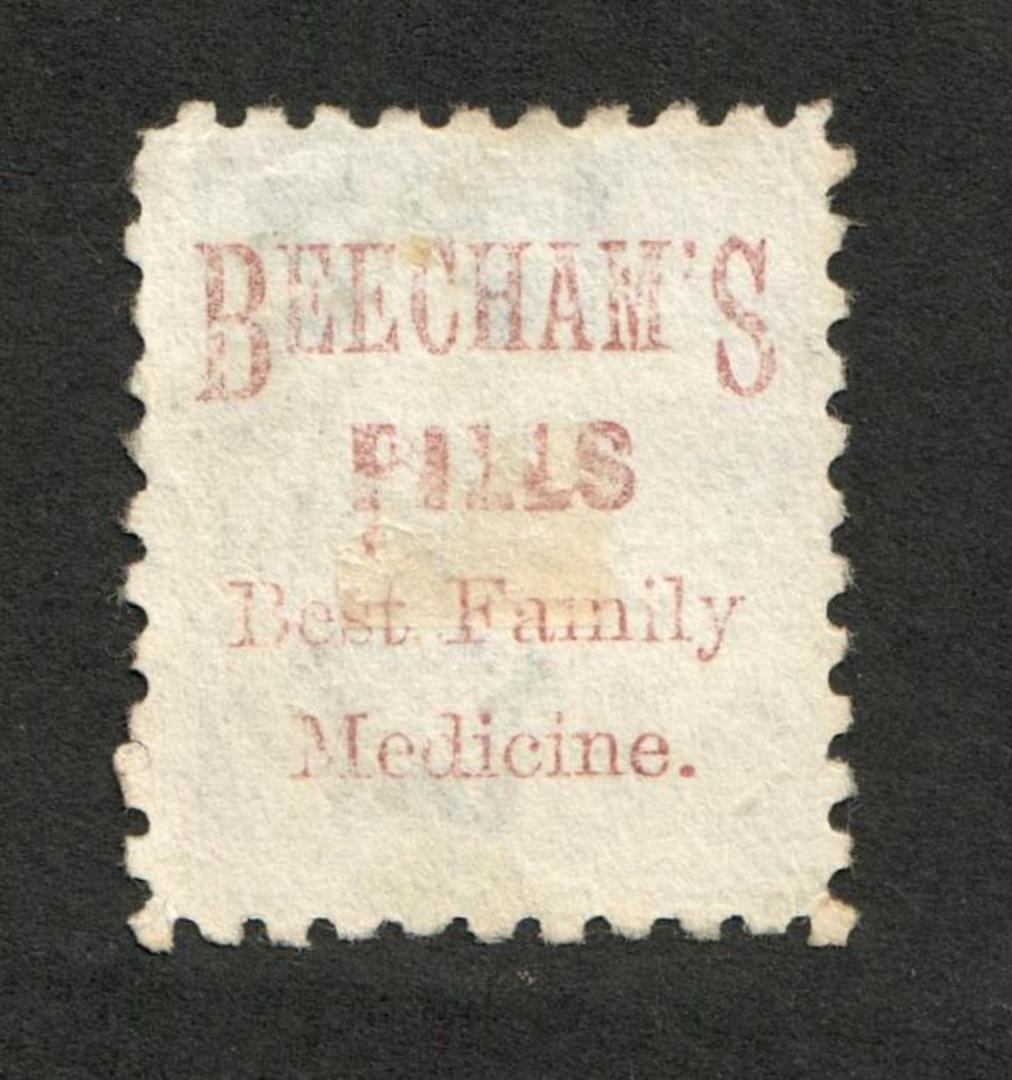 NEW ZEALAND 1882 Victoria 1st Second Sideface 2½d Blue.  Perf 10. Beechams Pills ......................... - 3986 - Used image 0