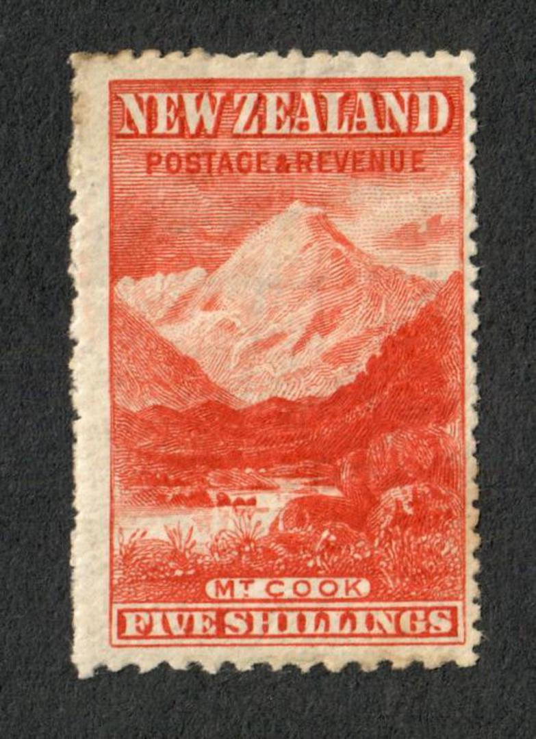 NEW ZEALAND 1898 Pictorial 5/- Deep Red. Compound Perfs. Upright Watermark. Centred east. Slight crease and soiling. Gum has sli image 0